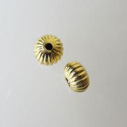 22 K Goud vermeil kraal, gestreept, 9 x 6 mm, per stuk