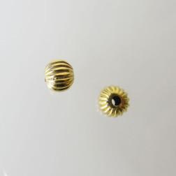 22 K Goud vermeil  kraal, gestreept, rond, 6 mm, per stuk