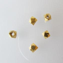 22 K Goud vermeil kraal, 4 mm, polygoon, 1 micron plated, verpakt per stuk