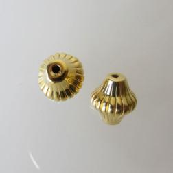 22 K Goud vermeil kraal, gestreept, 12 mm, bicone, per stuk
