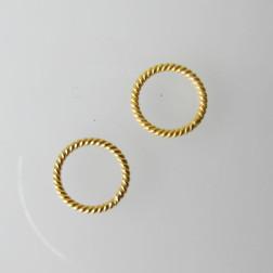 22 K Goud vermeil ring, twisted, 10 mm, 1 micron plated, per stuk