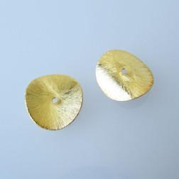 22 K Goud vermeil schijf,  doorsnee 16 mm, gebogen en geborsteld, verpakt per stuk