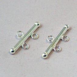Sterling zilveren (925) connector, 2-draads, 21 mm, verpakt per stuk