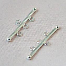Sterling zilveren (925)  connector, 3-draads, 30 mm, verpakt per stuk