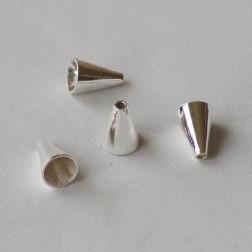 Sterling zilveren (925) eindstuk, kegel, 12 x 8.4 mm, verpakt per stuk