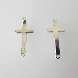 Sterling zilveren(925)  kruis, connector, 25 x 10 x 1 mm, per stuk