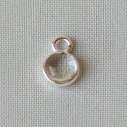 Sterling zilveren (925) bedeltje met KRISTAL steen, charm van crystal, 6 mm doorsnee, per stuk
