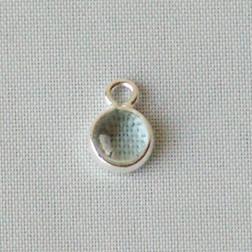Sterling zilveren (925) bedeltje met AQUAMARIJN steen, charm van aquamarijn, 6 mm doorsnee, per stuk