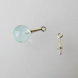 Sterling zilveren (925) hangeroog, met pinnetje, 12 mm, per stuk