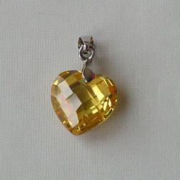 Hanger CZ, gefacetteerd, geel, verpakt per stuk