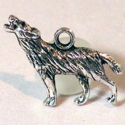 Zilverkleurige bedel, wolf, 25 mm, verpakt per 30  stuks