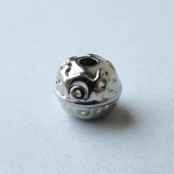 Zilverkleurige metallook kraal, 13 x 12 mm, grootgatskraal, per 10 stuks