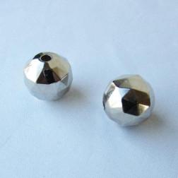 Zilverkleurige metallook kraal, 17 mm, grootgatskraal, per stuk