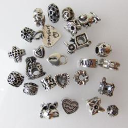 Zilverkleurige Pandora-Style kralen, mix van 25 kralen