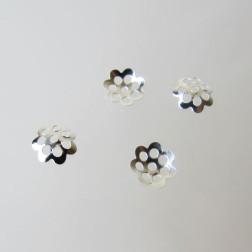 Zilverkleurig kralenkapje, 6 mm, bloem, verpakt per 10 stuks