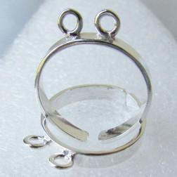 Sterling zilveren (925) ring, maat 18, verstelbaar, met 2 ringetjes, verpakt per stuk