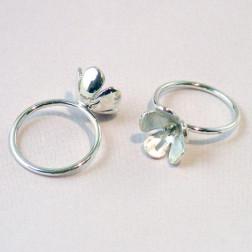 Sterling zilveren (925) ring met bloem/pin, maat 17, verpakt per stuk