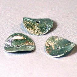 Sterling zilveren (925) schijfje,  gebogen en geborsteld, doorsnee 12 mm, per stuk