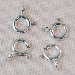 Sterling zilveren (925) springslot- veerring , 7 mm, verpakt per stuk